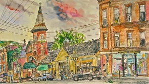 """View Down Elliot Street from Harmony Parking Lot, Brattleboro, Vermont, July 1994, ink and watercolor, 26""""X15"""""""