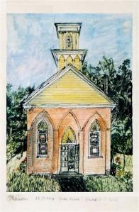 "The Green Emporium, Colrain, Massachusetts, November 1994, ink and watercolor, 8""X10"""