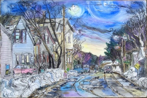 "The Valentine's Day Meltdown on Elliot Street, Brattleboro, Vermont, February 1997, ink and watercolor, 22""X15"""