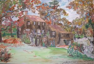 "Barry Oberprillar's House, Leverett, Massachusetts, December 1997, ink and watercolor, 22""X15"""
