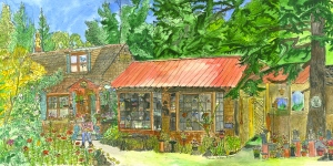 """The Spiral Shop as It Was in 1993, Marlboro, Vermont, JUne 2001, ink and watercolor, 26""""X12"""""""