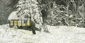 """My Cottage in the Winter, Marlboro, Vermont, June 2001, ink and watercolor, 26""""X12"""""""