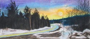 "Route 9 Heading West, Marlboro, Vermont, June 2001, pastels, 26""X12"""