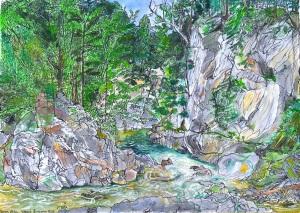 """Brockways Mills, Rockingham, Vermont, July 2005, ink and watercolor, 22""""X15"""""""
