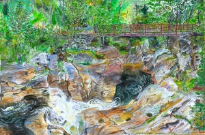 "Readsboro Falls, Readsboro, Vermont, September 2005, ink and watercolor, 22""X15"""