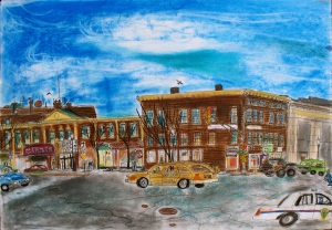 "Garden Cinema, Greenfield, Massachusetts, March 2006, ink and pastels, 30""X22"""