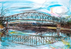 Schell Bridge, Northfield, Massachusetts, March 2006, ink and pastels, 30