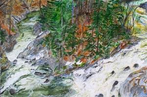 "Country Deli Falls, Brattleboro, Vermont, April 2006, ink and watercolor, 22""X15"""