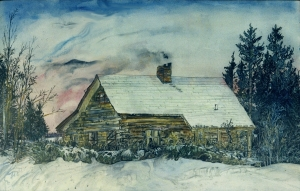 """Lesile's Cabin, Greensboro Bend, Vermont, January 1996, ink and watercolor, 22""""X15"""