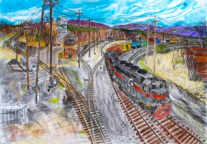 "East Deerfield Railroad Yard, Deerfield, Massachusetts, April 2006, ink and pastels, 30""X22"""