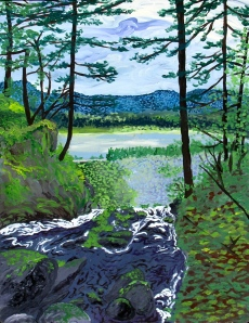 """Back End of Horsetail Falls, Columbia River Gorge, Oregon, May 2006, acrylic, 20""""X30"""""""