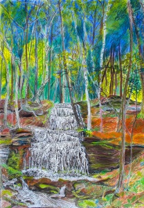 "Gunn Falls, Sunderland, Massachusetts, June 2006, ink and pastels, 22""X30"""