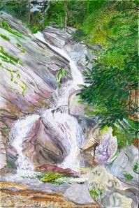 "Hamilton Falls, Jamaica, Vermont, June 2006, ink and watercolor, 15""X22"""