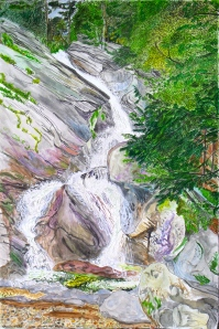 "Hamilton Falls, Jamaica, Vermont, June 2006, ink and watercolor, 15""X22"""