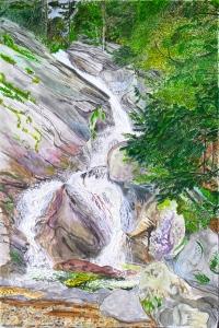 Hamilton Falls, Jamaica, Vermont, June 2006, ink and watercolor, 15