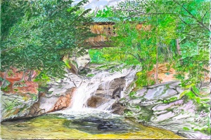 """Crystal Falls, Montgomery, Vermont, August 2006, ink and watercolor, 22'X15"""""""