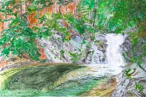 "East Putney Falls, Putney, Vermont, August 2006, ink and watercolor, 22""X15"""