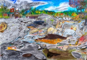 "Shelburne Potholes, Shelburne Falls, Massachusetts, September 2006, ink and pastel, 30""X22"""