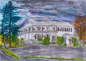 """The Whately Inn, Whately, Massachusetts, October 1996, ink and pastel, 30""""X22"""""""