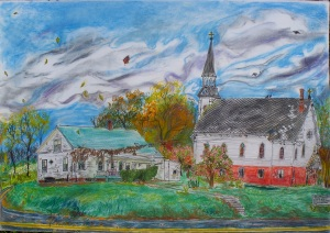 "John Lacoe's House, Conway, Massachusetts, October 2006, ink and pastel, 30""X22"""