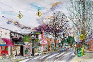 """Moreland Theater, East Portland, Oregon, March 2007, ink and watercolor, 22""""X15"""""""