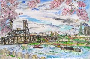 "Steel Bridge, Portland, Oregon, April 2007, ink and watercolor, 22""X15"""