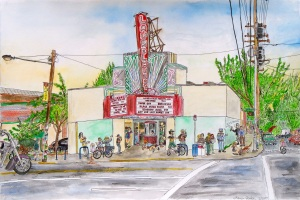 "Laurelhurst Theatre, East Portland, Oregon, May 2007, ink and watercolor, 22""X15"""