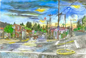"Multnomah Village, West Portland, Oregon, May 2007, ink and watercolor, 22""X15"""