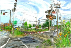 "Division Street and SE 8th Avenue Crossing, June 2007, ink and watercolor, 22""X15"""