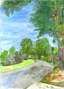 "Ladd Circle, East Portland, Oregon, June 2007, ink and watercolor, 19""X26"""