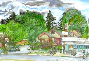 "The Shop on Belmont (now Rocking Frog Cafe), East Portland, Oregon, June 2007, ink and watercolor, 22""X15"""