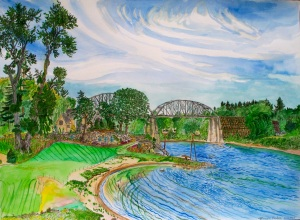 """Tryon Cove, Lake Osewgo, Oregon, June 2007, ink and watercolor, 22""""X15"""""""