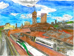 "Union Station, Portland, Oregon, June 2007, ink and watercolor, 26""X19"""
