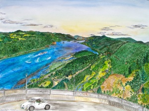 """View From Crown Point, Corbett, OregonFalls, August 2007, ink and watercolor, 26""""X19"""""""