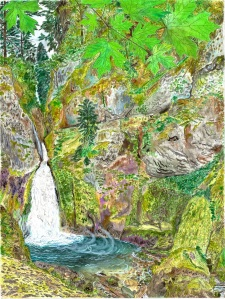 """Wachella Falls, Columbia River Gorge, August 2007, ink and watercolor, 19""""X26"""""""