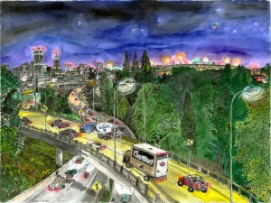 """View From the Ross Island Bridge, Portland, Oregon, September 2007, ink and watercolor, 26""""X19"""""""