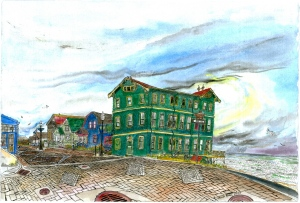 Sylvia Beach Hotel, Newport, Oregon, September 2007, ink and watercolor, 22
