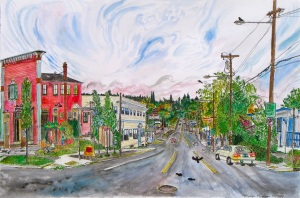 "The Muddy Rudder, East Portland, Oregon, October 2007, ink and watercolor, 22""X15"""
