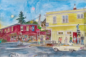 "Sellwood Inn and Piece of Cake, SE Portland, Oregon, August 2010, ink and watercolor, 22""X15"""