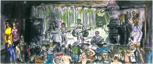 "Type O Negative Playing at the Channel, Boston, Massachusetts, January 1992, ink and watercolor, 15""X9"""