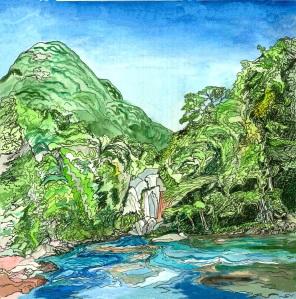 "Fife Brook Dam, Zoar, Massachusetts, April 2008, ink and watercolor, 9""X11"""