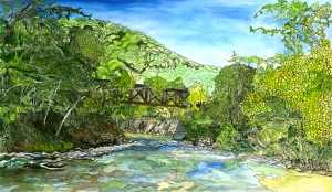 "The Tressle at Hoosac Tunnel, Zoar, Massachusetts, April 2008, ink and watercolor, 20""X11"""