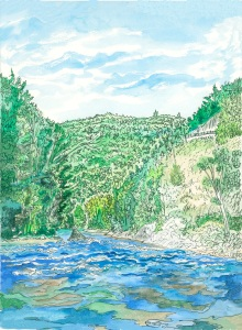 """The Slanted Banks, Zoar, Massachusetts, April 2008, ink and watercolor, 9""""X11"""""""