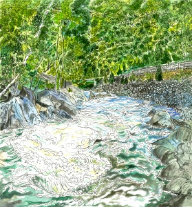 "Zoar Gap rapid, Zoar, Massachusetts, April 2008, ink and watercolor, 9""X11"""