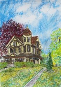 "Rob Leverett's House, Holyoke, Massachusetts, June 2008, ink and watercolor, 22""X30"""