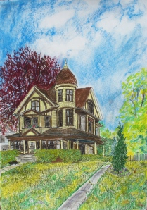 "Rob Leverett's House, Holyoke, Massachusetts, June 2008, ink and watercolor, 22""X30"""