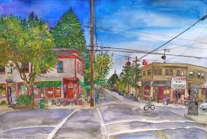 "Clinton Corner, East Portland, Oregon, September 2008, ink and watercolor, 22""X15"""