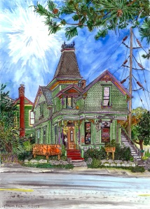 """The Pied Cow, East Portland, Oregon, October 2008, ink and watercolor, 22""""X15"""""""