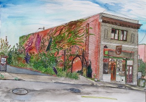 "The White Eagle, East Portland, Oregon, October 2008, ink and watercolor, 22""X15"""
