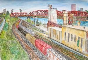 "Broadway Bridge, Portland, Oregon, May 2013, ink and watercolor, 30""X22"""